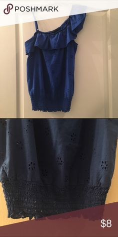 🎉Host Pick🎉1/24/17 Blue one shoulder shirt with elastic on the bottom. Sheer flowers throughout. Tops