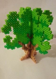 3D Earth Day Tree Perler Bead Sprite ornament by dperlerbeads