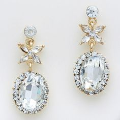 Floral Oval Gold and Clear Rhinestone Earrings