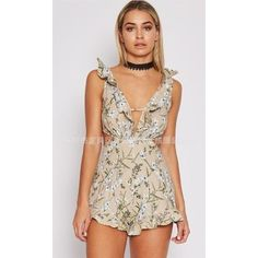 Yoins Floral V-neck Backless Sleeveless Playsuit In Khaki ($21) ❤ liked on Polyvore featuring jumpsuits, rompers, floral romper, v neck romper, floral rompers, backless romper and sleeveless rompers