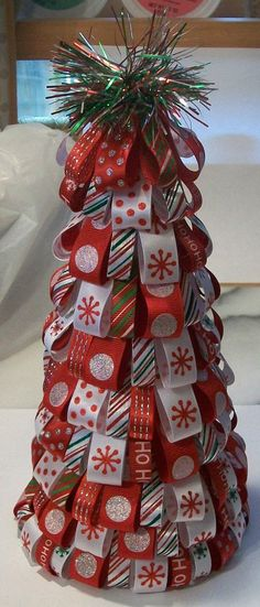 Christmas Ribbon Tree OOAK by nancytreasures on Etsy Handmade Christmas Tree, Christmas Ribbon, White Christmas, Christmas Time, Christmas Wreaths, Christmas Decorations, Christmas Stuff, Christmas Turkey, Christmas Crafts For Kids