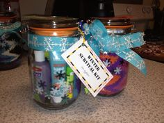 Gift in a Jar- Winter Survival Kit: warm fluffy socks, gloves, hand cream, carmex, hand sanitizer, and chocolate!!