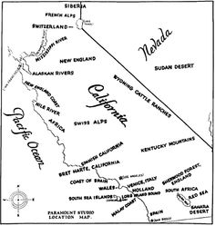 """wow this is a super fascinating map: """"Paramount Studio map of California's geographical facsimiles, from The Motion Picture Industry as a Basis for Bond Financing, 1927"""""""
