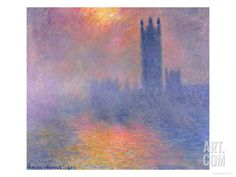 The Houses of Parliament, London, with the Sun Breaking Through the Fog, 1904 Giclee Print by Claude Monet at Art.com