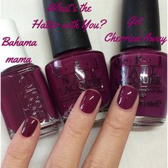 "essie ""Bahama Mama"" & OPI ""What's the Hatter with You?"" & ""Get Cherried Away"" Bahama mama and what's the hatter with you are pretty identical, get cherried away is more purple. Plum Nails, Opi Nails, Plum Nail Polish, Nail Nail, Nail Polishes, Nail Polish Dupes, Gradient Nails, Acrylic Nails, Opi Nail Colors"