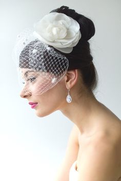 Wedding Hair Accessory Birdcage Veil Bridal by PowderBlueBijoux, $89.00