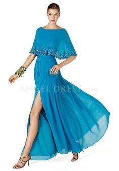 Floor Length Chiffon Sheath/ Column Bateau Neck Natural Waist Evening Dress With Side Slit