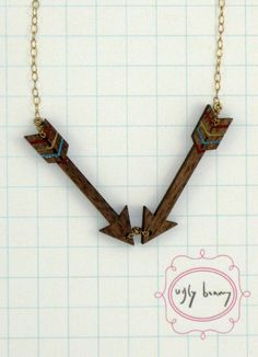 double arrow necklace- laser cut $42.00