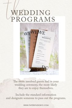 The more involved guests feel in your wedding ceremony, the more likely they are to enjoy themselves. Share the details of your wedding ceremony with your wedding program printed on high-quality paper for a perfect finishing. #weddingprograms #weddingprogram #weddingprogramcard #orderofevent #weddingtimeline #weddingpartycards #preludecards #wedocards #wedo #simpleweddingprograms #rusticweddingprograms #weddingprogramtimeline Rustic Wedding Stationery, Rustic Wedding Programs, Laser Cut Wedding Invitations, Destination Wedding Invitations, Wedding Timeline, Wedding Tips, Fall Wedding, Wedding Ceremony, Cream Wedding