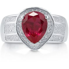 BERRICLE Sterling Silver 2.77 ct.tw Pear Simulated Ruby CZ Halo... ($50) ❤ liked on Polyvore featuring jewelry, rings, ruby, sterling silver, women's accessories, anniversary band rings, sterling silver ruby ring, sterling silver rings, cz anniversary rings and ruby ring