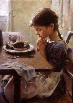 Girl Praying Painting Thankful little girl praying