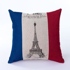 Ojia 18 X 18 Inch Cotton Linen Decorative Throw Pillow Cover Cushion Case, Eiffel Tower and Flag