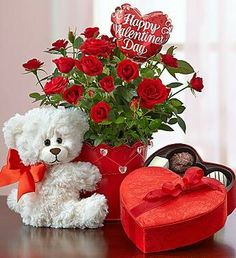 Shop Flowers & Gifts At This Valentine - Hurry Now ! Bear Valentines, Valentines Flowers, Happy Valentines Day, Valentine Day Gifts, Valentine Flower Arrangements, Floral Arrangements, Rosen Box, Valentine Baskets, Beautiful Red Roses