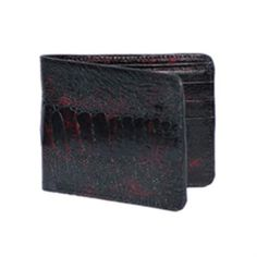 c6e3b2d8d2eaf ID KA7802 Wild West Boots Wallet-Dark color black Cherry Genuine Exotic  Ostrich Leg. Crocodile SkinLeather ...