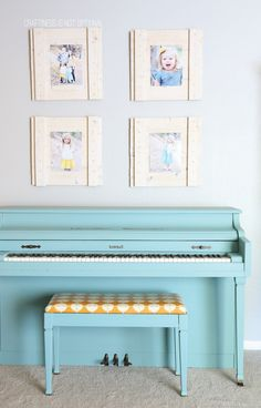 aqua chalk painted piano-tips for painting with chalk paint and where to find it for cheap!!