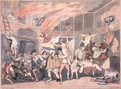 """Fire at the inn Rowlandson Thomas Rowlandson captures the scene with such realism in """"Inn Yard on Fire"""" that one can smell the smoke and fear, and hear the horses neighing, people screaming, furniture breaking, and wagon wheels squealing as guests and staff run around trying to save themselves, their possessions, and each other."""