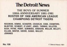1981 Detroit News Detroit Tigers #108 1908 Tigers Back