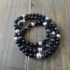 Check out this item in my Etsy shop https://www.etsy.com/listing/575194435/beaded-stretch-wrap-bracelet-black-onyx