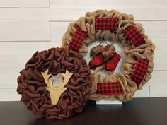 Small Deer and Large Skate wreaths shown. Holiday Wreaths, Christmas Decorations, Holiday Decor, Small Deer, Skates, Tis The Season, Burlap Wreath, Christmas Holidays, Ribbon