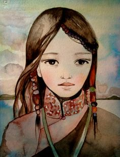 Woman from asia  hmong inspired watercolor by claudiatremblay