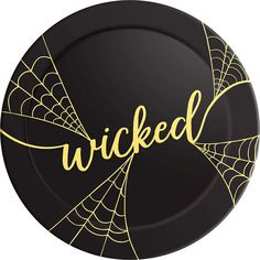 The Metallic Gold Wicked Platter is black and features a metallic gold 'Wicked' headline with spider webs. All the ghouls and goblins will go for the finger foods on this Halloween-themed plastic tray! Halloween Costume Shop, Halloween Party Decor, Halloween Costumes For Kids, Halloween 2017, Online Party Supplies, Kids Party Supplies, Halloween Plates, Modern Halloween, Party Stores