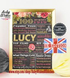 Personalised 100th Birthday 1919 United Kingdom Chalkboard Printable UK British With Free Bonus