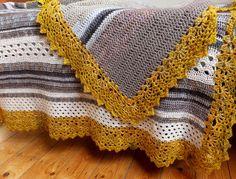 grey white and mustard crochet blanket