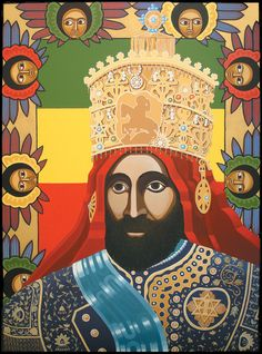 Emperor Haile Selassie I = H.I.M = Rastafari Reggae Art, Reggae Music, Rasta Tattoo, Rastafari Art, Rastafarian Culture, Kwanzaa Principles, Rasta Art, Haile Selassie, Cradle Of Civilization