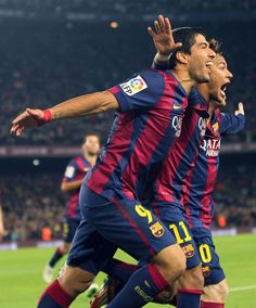 Suarez, Neymar and Messi Barcelona Team, Barcelona Football, Barcelona Futbol Club, National Football Teams, Football Soccer, Basketball, Good Soccer Players, Football Players, Lionel Messi