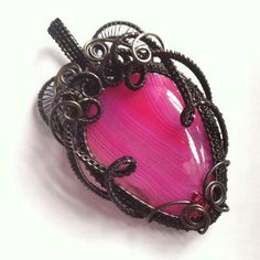 Strawberry Sweetheart  Pink Agate Pendant by SparrowSongInDesign