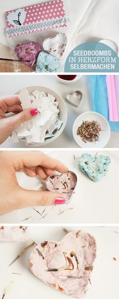 DIY-Anleitung: Farbige Seedbombs in Herzform selber machen / diy tutorial: colorful seedbombs via DaWanda.com