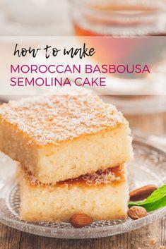 Basbousa – Semolina Cake – MarocMama How to make Moroccan Basbousa Semolina Cake – an easy recipe for a delicious Arabic dessert! Köstliche Desserts, Sweets Recipes, Ramadan Recipes, Greek Desserts, Health Desserts, Plated Desserts, Rice Recipes, Moroccan Desserts, Moroccan Dishes