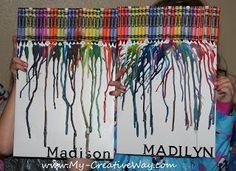 DIY Arts &  Crafts : DIY: Melted Crayon Art with Kids Names