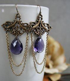 PURPLE RAIN romantic vintage Victorian fantasy inspired chandelier earrings, free gift boxing