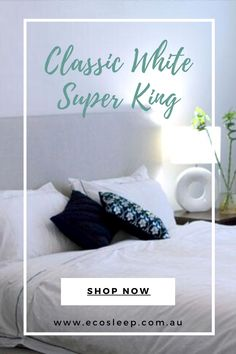 1 white bamboo/cotton top sheet, 2 plain bamboo/cotton pillowcases 1 cotton sateen quilt cover 2 pillow cases matching the quilt cover. Quilt Cover Sets, Dust Mites, Mulberry Silk, Classic White, Pillowcases, Beautiful Homes, Bedroom Ideas, Bamboo, Australia