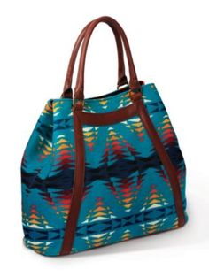 If it's got any amount of teal, I'm on it....Pendleton Woolen Mills Leather Tote