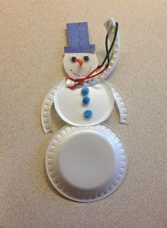 paper plate snowman winter craft
