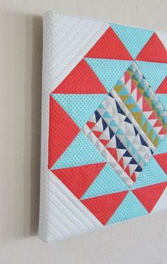 How to Mount a Quilt Block Over Stretched Canvas - Quilting Digest Quilting Tips, Quilting Projects, Sewing Projects, Small Quilts, Mini Quilts, Scrappy Quilts, Diy Canvas, Canvas Fabric, Canvas Art