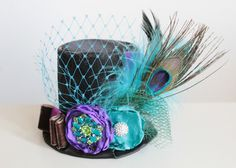 Peacock Mini Top Hat with Aqua Purple Hunter Green and Feathers (or fascinator) - Perfect Newborn Boy or Girl Photo Prop via Etsy