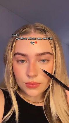 Edgy Makeup, Makeup Eye Looks, Eyeliner Looks, Cute Makeup, Gorgeous Makeup, Skin Makeup, Makeup Art, Makeup Tips, Pretty Makeup Looks
