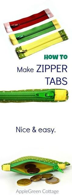 Learn how to shorten a zipper and then sew fabric tabs to each end of the zipper to give it some more color and style. And you won't believe how easy it is!