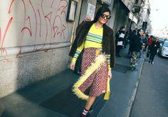 Giovanna Engelbert in a Sies Marjan sweater, Prada skirt, and Vetements socks