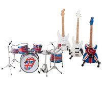 Mini Batería de los Rolling Stone más 3 guitarras.