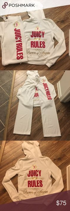NWOT Juicy Couture white terry tracksuit Juicy couture white sweatsuit with hot pink lettering. I took the tags off but never wore it. I have had it hanging in my closet. My house is smoke free. Juicy Couture Tops Sweatshirts & Hoodies