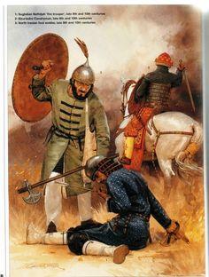 Samanid Armies (late 9th and 10th centuries): 1: Sughdian Naffatah 'fire trooper'; 2: Khurasani Cavalryman; 3: North Iranian foot soldier