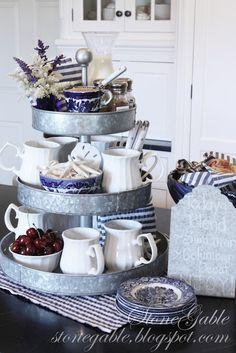 StoneGable: pretty coffee bar! Include sugars, cream, cocoa & cinnamon, mugs, napkins, spoons, and some seasonal decor.