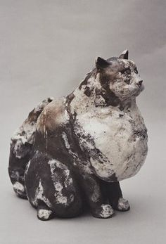 Ceramics by Lesley Martin at Studiopottery.co.uk - Produced in 2003. Raku fired Cat. Height: 27cm.