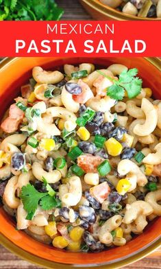 This easy Mexican Macaroni Salad tastes like burrito bowl but with pasta! The tasty pasta salad dressing has salsa and jalapeno in it. This Mexican-inspired pasta salad recipe has lots of veggies and beans for a veggie-forward salad that balances out the pasta. It's flavorful, tasty, easy to make in 15 minutes, and you can control the spice level. If you're looking for new taco tuesday recipes, pasta salad ideas, pasta salads with black beans, and pasta salads with vegetables, give it a try! Vegetarian Pasta Salad, Easy Pasta Salad Recipe, Vegetarian Side Dishes, Healthy Pasta Recipes, Healthy Cooking, Beef Recipes, Noodle Recipes, Easy Cooking, Recipies