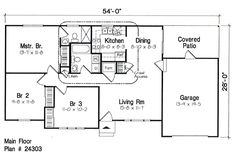 First Floor Plan of Ranch   Traditional   House Plan 24303