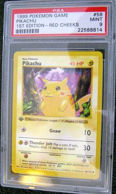 1st EDITION Red Cheek Pikachu SHADOWLESS ERROR  58/102 PSA 9 Graded Pokemon Card #NintendoCreaturesIncGAMEFREAKInc